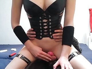Mistress Lets Me Fuck Her With Strap Dildo While Encaged In The Vice