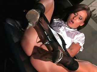 Black-haired Throws Her Gams Over Head To Love Flawless Tongue Job