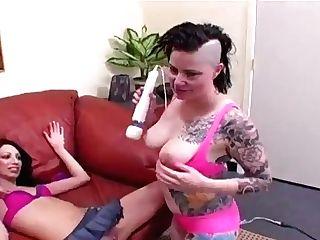 Curvy Punk Cougar Gushes For Slender Teenager Dame