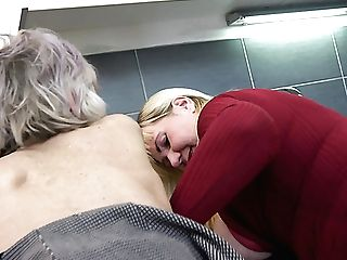 Non-traditional Big Boobed Brown-haired Has Seduced Two Grannies For Lezzie Threesome