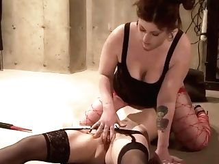 """""""chubby Dom Mistress Rails Subjugated Lezzies Mouth Fake Penis For Orgasmic Release"""""""