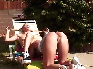 Crazy Superstars Summer Fields And Barbi Belle In Exotic Cuni, Outdoor Romp Scene